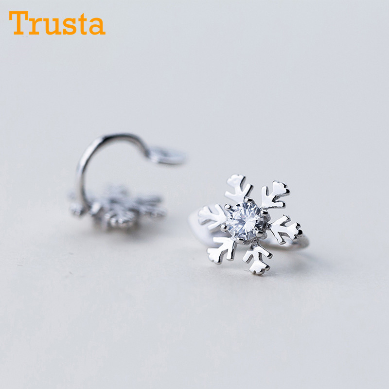 Liberal Trusta 2018 100% 925 Sterling Silver Snow Cz Ear Cuff Clip On Earrings For Women Girl Without Piercing Earings Jewelry Ds476 Catalogues Will Be Sent Upon Request