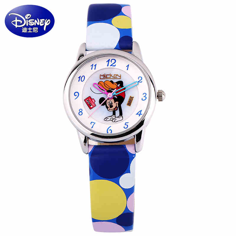 100% DISNEY  brand women Mickey mouse pretty girl love gift charming leather quartz round watch female unbeatable hour Hot promotion 6pcs mickey mouse 100