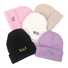 2019 Autumn and Winter Knit Hat Purple White Pink Black Beige Cap Hip Hop black and white marled knit scarf