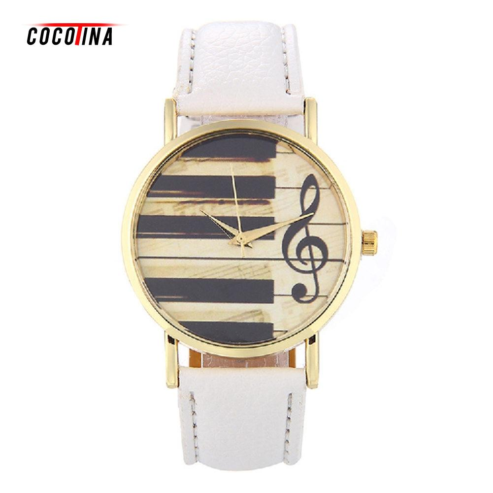 COCOTINA Brand New Women Watches Leather Band Strap Piano Key Style Quartz Wrist Watch LSB9673