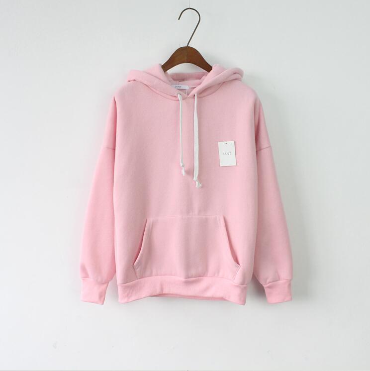 2018 Women Hoodies Sweatshirt Long Sleeve Pink Casual Harajuku Pocket Design Winter Hoodie For Women Pullovers Sudaderas Mujer