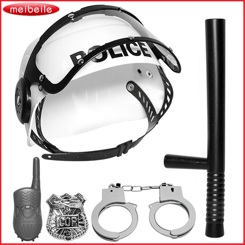 5 Pcs Plastic Police Play Set Simulation Stick Interphone Badge Handcuff Hat Toy for Chi ...