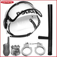 5 Stücke Kunststoff Polizei Spielset Simulation Stick Sprech Abzeichen Handschellen Hut Spielzeug für Kinder rollenspiel Cosplay Spiel