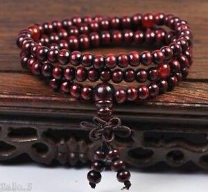 Énorme 6 mmtibétain santal bouddhiste bouddha prière perles Mala Bracelet 108 pièces T5544 hindouisme ailes larges bijoux pour homme