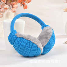Acrylic knitted unisex warming earmuff with woolen plush washable for male and female fashion wearing accessories 2I008
