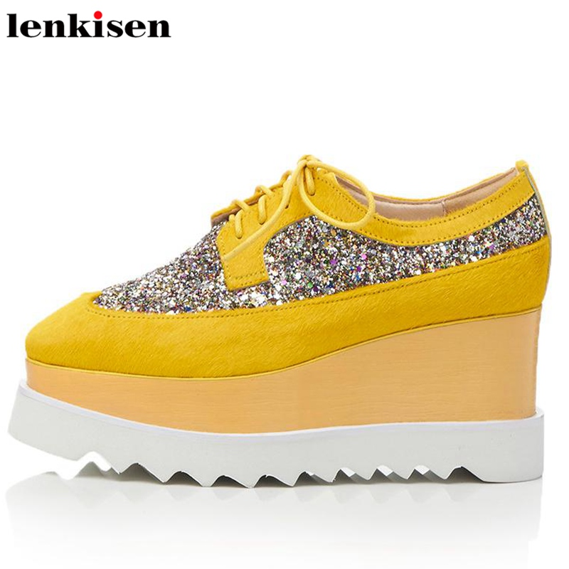 Lenkisen big size new arrival lace up cow leather square toe causal shoes fur bling high heels wedding meeting women pumps L65
