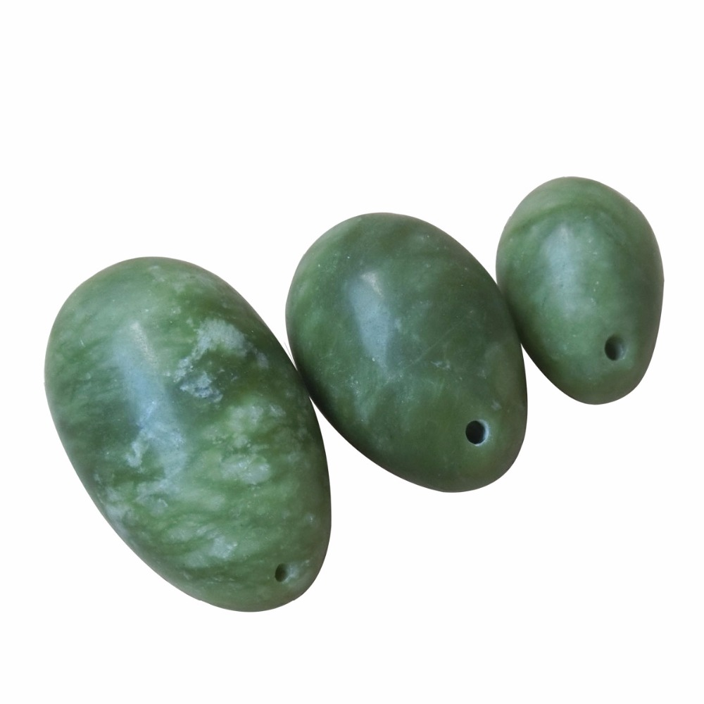 3Pcs(1set) Natural Jade Eggs For Kegel Exercise Pelvic Floor Muscle Tightening Vaginal Exercise Yoni Egg Ben Wa Ball For Women