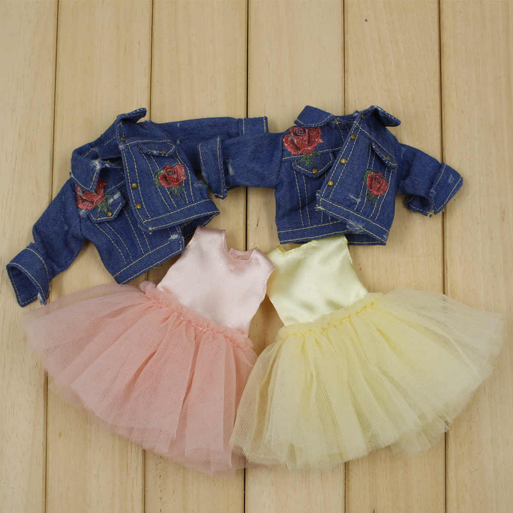 blyth doll clothes Cute skirt denim jacket two colors 1/6 doll normal joint azone licca icy dolls