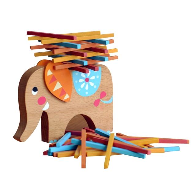 Elefante De Madera Equilibrio Juego De Mesa Para Ninos Montessori