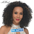 Sofeel wigs for black women short curly ombre hair wig  women's  pelucas sinteticas wigs synthetic hair free wig cap