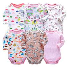 Baby Bodysuits Long Sleeve Babies 6 Piece/lot Newborn Toddler Infant Boys Girls 3-24 Months All Cotton Knit Print Clothes