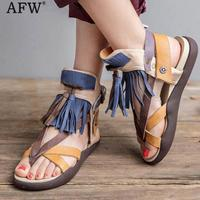 AFW 2018 Fringe Fashion Sandals Women Genuine Leather Flip Flop Beach Sandals Summer Shoes Women Flat