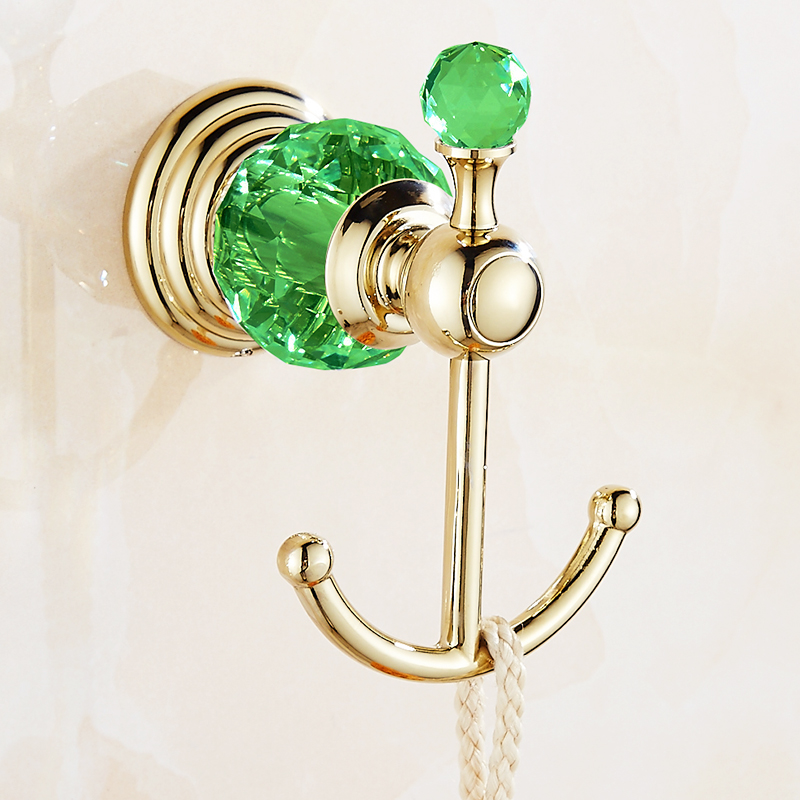 Ensemble de salle de bain en laiton doré vert cristal rangée crochet double dent tasse style européen papier serviette panier - 6