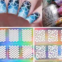 цена на 1 sheet Silver Hollow Stencil Nail Stickers Fish Scale Pattern DIY Nail Stamping Polish Guide Manicure Tools
