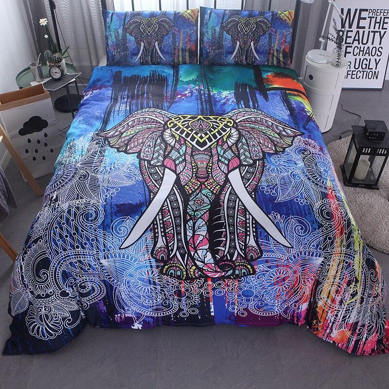 Fanaijia inde éléphant imprimer housse de couette ensemble avec taie d'oreiller 3 pièces ensemble de literie bohème Design US reine roi lit ligne de lit