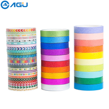купить AAGU 44PCS/Set Skinny Glitter Christmas Washi Tape Scrapbooking Decorative Adhesive Paper Tape Set Box Package Masking Tape Set по цене 497.48 рублей