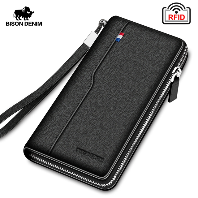 BISON DENIM Genuine leather Men Wallets RFID Zipper Coin Pocket Long Purse Passport Cover For Men Card Holder Purse W8226