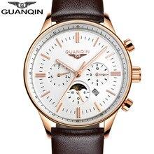 GUANQIN Men Quartz Watch New Fashion Men's Big Dial Designer Leather Band Thin Quartz Watch Luxury Watch Men Automatic Top Watch