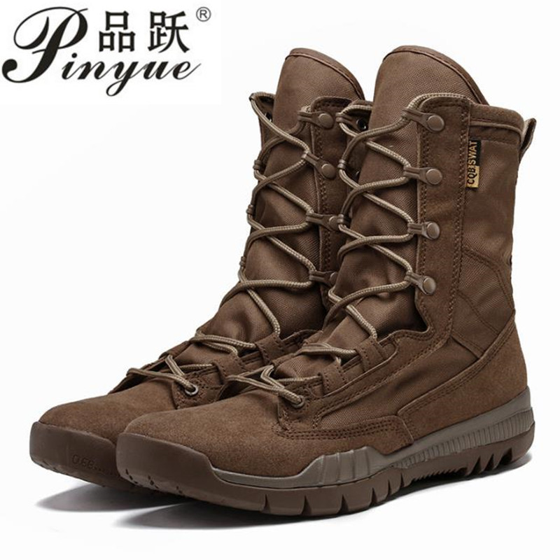 Spring Autumn High Tube Leather Breathable Military Tactical Boots Outdoor Training Climbing Hunting Jungle Desert Combat