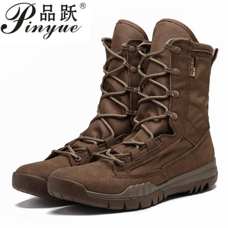 Printemps automne haut Tube cuir respirant militaire tactique bottes en plein air entraînement escalade chasse Jungle désert Combat chaussures