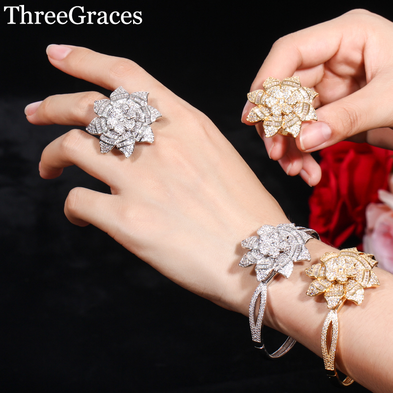 ThreeGraces Delicate Women Flower Yellow Gold Ring Bangle Sets Micro Pave Cubic Zirconia Set for Bridal Wedding Jewelry JS025