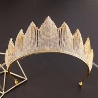 Luxurious Full Crystal Bride Crown Wedding Tiara Headdress Bridal Hair Ornaments Marriage Diadem Large Golden Queen Crown CR134