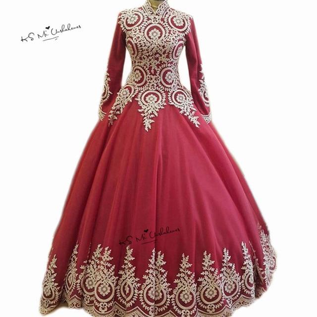 98f307a17c9 High Neck Long Sleeve Muslim Wedding Dress 2018 Hijab Saudi Arabia Bridal  Dresses Red Gold Lace Ball Wedding Gowns Floor Length