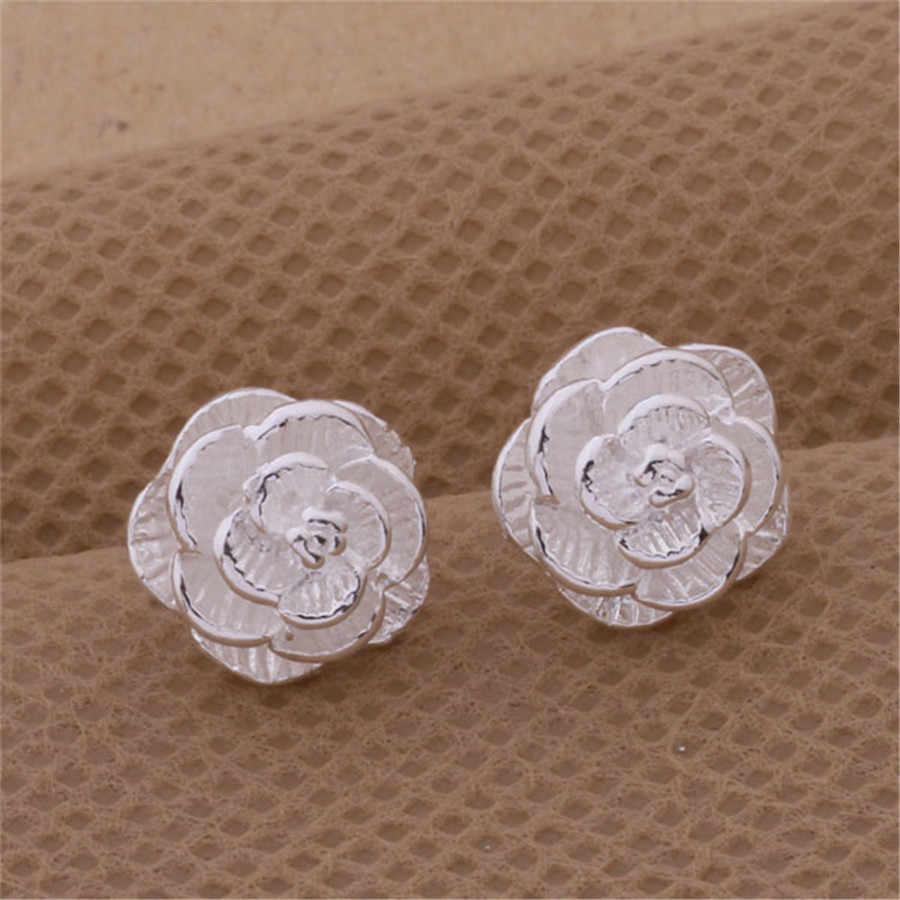 AE283 новый список серебряный цвет ювелирные изделия простой цветок серьги