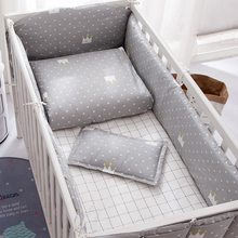 цена на Grey Unisex Cotton Baby Bumpers Bedding Sets Newborn Baby supplies safety guard Crib Bed Bumpers Baby Duvet Cover Sheets 2645678