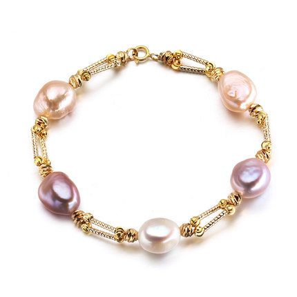 2016 Charm Bracelet Pearl Jewelry Natural Freshwater Pearl Baroque Pearl Bracelet Gold Jewelry Bracelet For Women Gift