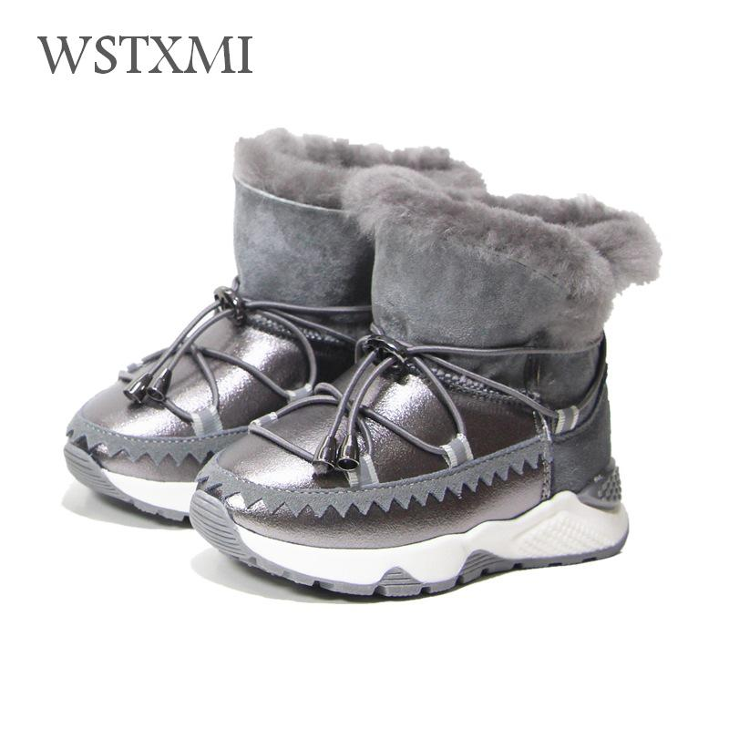 Winter Children Boots Genuine Leather Girls Snow Boots for Kids Fur Warm Mid-calf Fashion Sequin Shoes Boys Cotton Rubber Boots цена