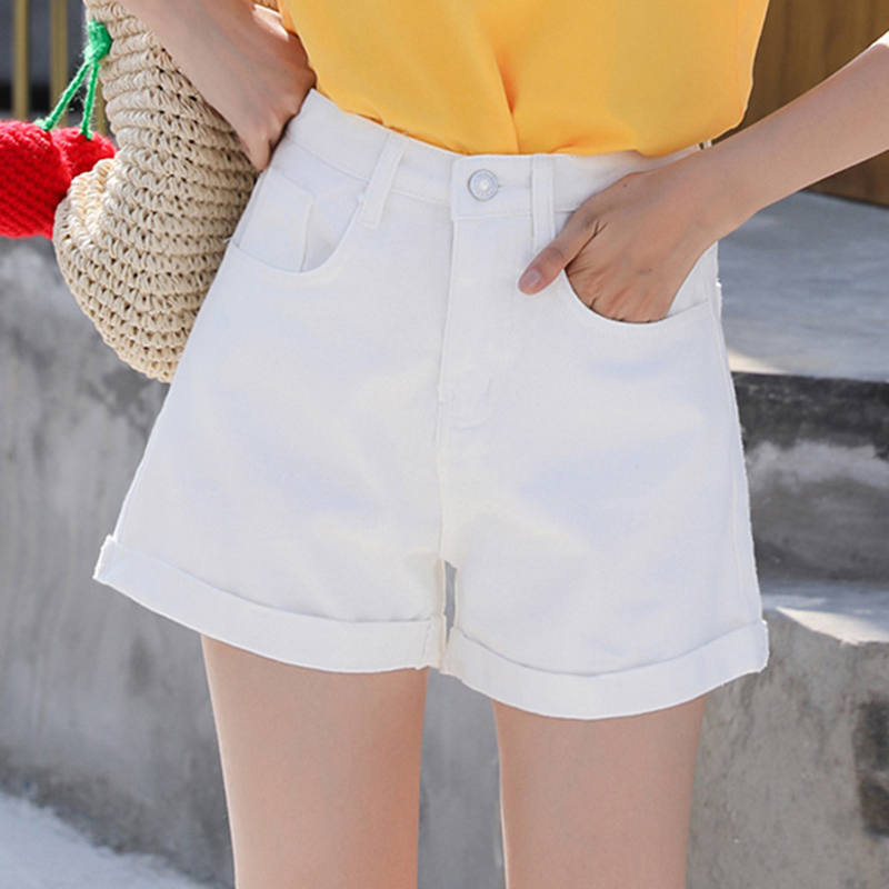 cheapest on feet at top-rated quality Korean High Waist Jean Shorts Women Summer Plus Size Short Jeans Feminino  Black White Denim Shorts Women Loose Short Mujer