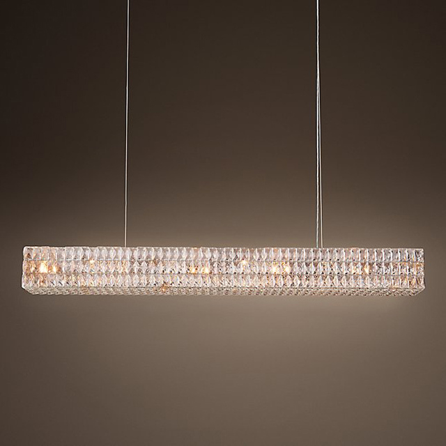 Large Rectangular Long Crystal Chandelier 12 Lights Italian K9 Hotel Lobby Hanging Light French Country