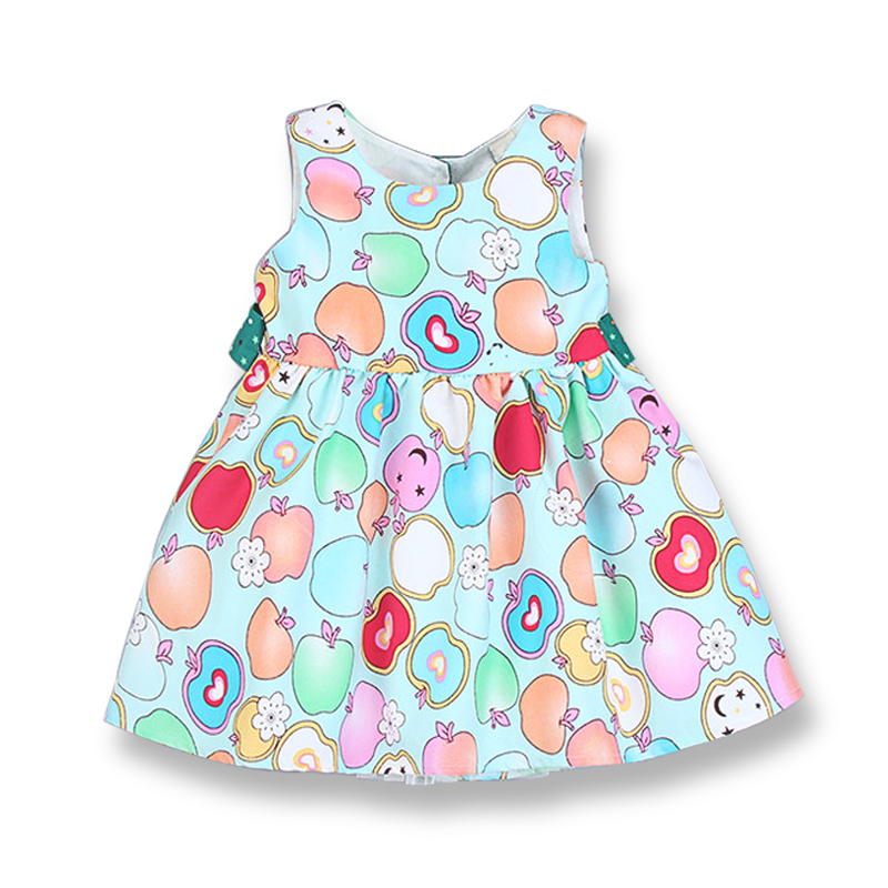 Fashion Summer Dress Girl Kids Print Party Dress Wokół szyi Bez - Ubrania dziecięce