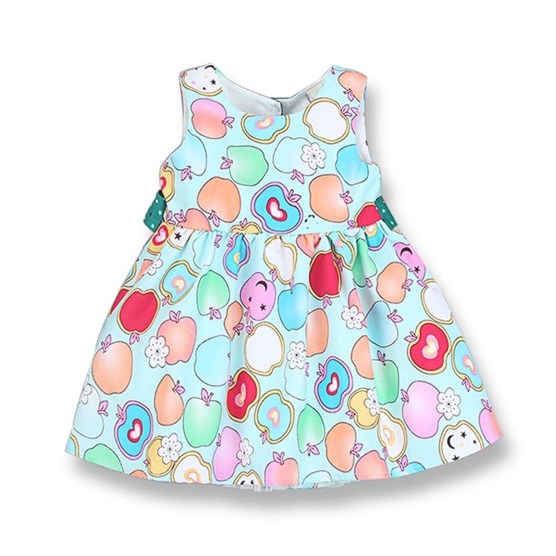 Fashion Summer Dress Girl Kids Print Party Dress Girocollo maniche - Vestiti per bambini