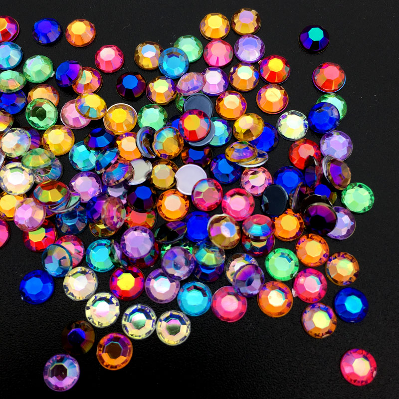 AB Colorful 5MM Mixed color Nail Art Rhinestones crystal Acrylic Round Glitter DIY Nail Decorations 1 pack mixed size crystal ab colorful nail art rhinestones flat back 3d glass nail glitter decorations diy manicure accessories
