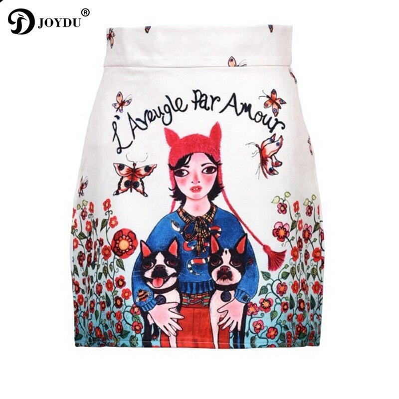 JOYDU taille haute Mini femmes jupes piste Vintage jupe crayon 2018 nouveau Designer fille Bulldog imprimer saia Lolita jupe faldas