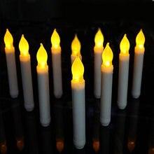 12 шт желтый Мини беспламенный светодиодный конус свечи электронные