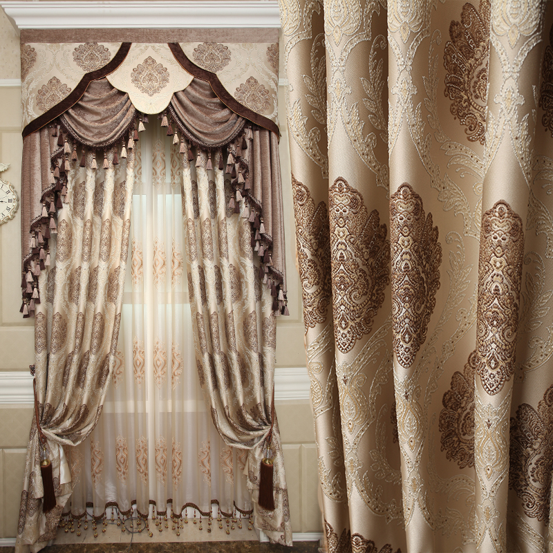 Custom curtains simple modern fabric luxury noble bedroom balcony coffee cloth blackout curtain tulle valance drapes N448Custom curtains simple modern fabric luxury noble bedroom balcony coffee cloth blackout curtain tulle valance drapes N448