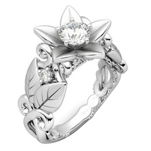 Creative Tree Rose & Leaves Flower Ring Jewelry For Women