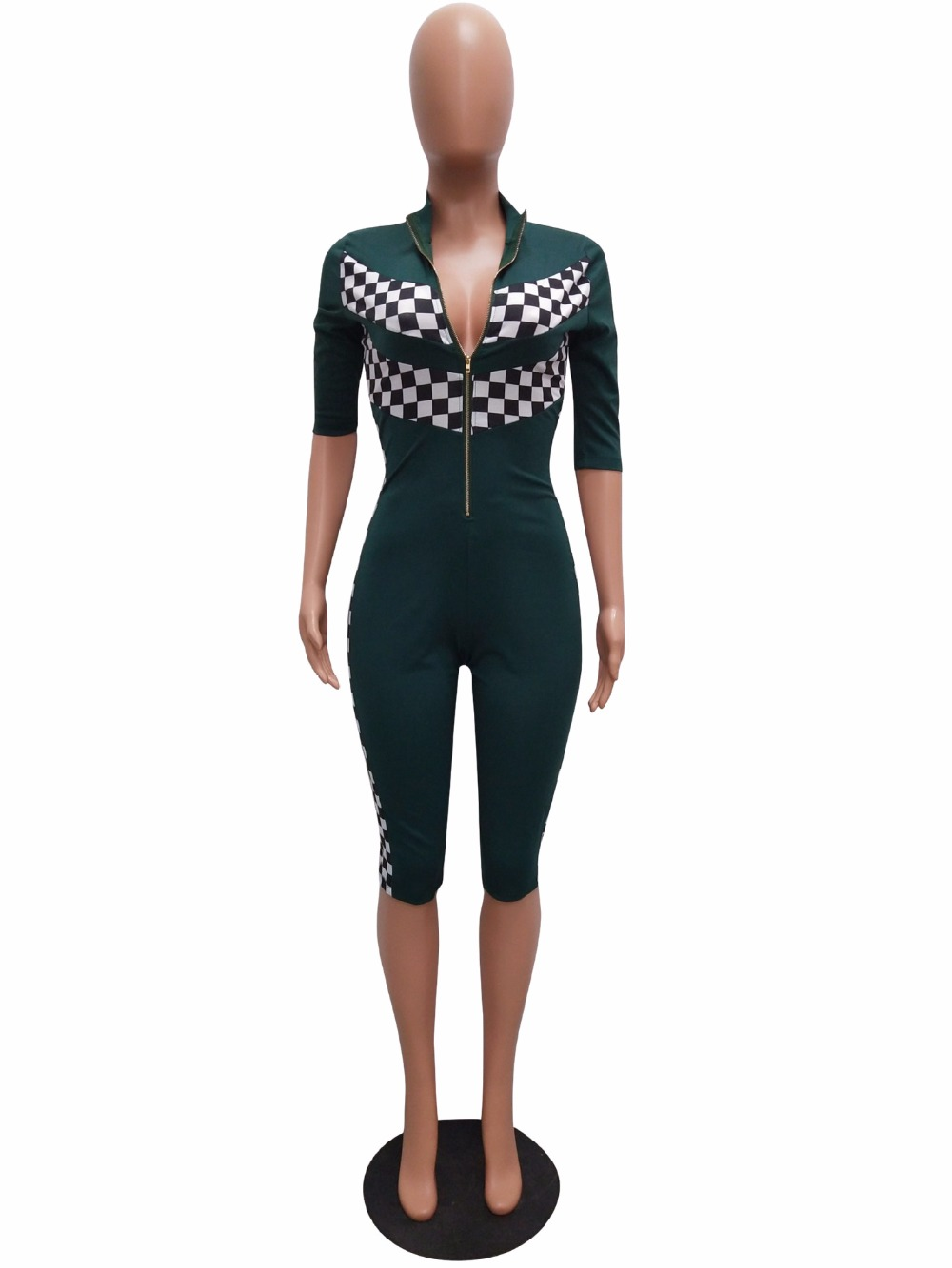 9c09d15f9a87 Plaid Fashion Women Black Red Blue Green Knee length Bodycon Jumpsuits Hot  Sexy Front Zipper Down Deep V Neck Skinny Jumpsuit -in Rompers from Women s  ...