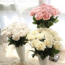 1 gab mākslīgo rožu zīda ziedu viltus lapu garš rožu pumpuri Mākslīgo ziedu dekoratīvie ziedi mājas kāzu dekors