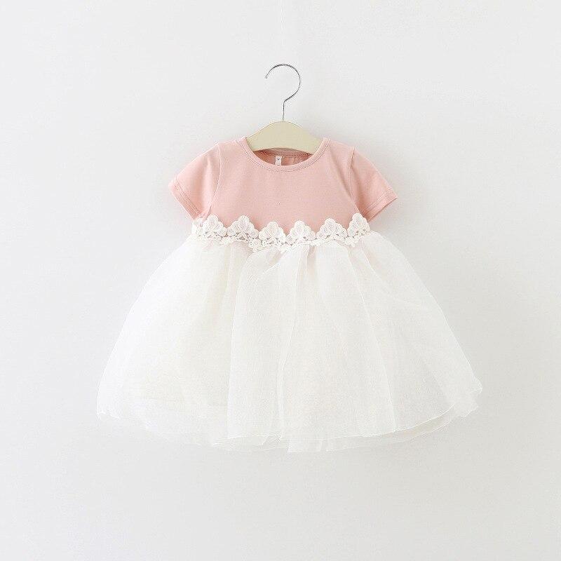 T-shirt Summer Baby Sleeve Cotton Girls Kids Newborn Lace Clothes Vest Children