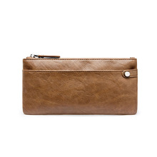 цены Wallets Genuine Leather Double Zipper Clutch Bag Man Cow Leather Long Purse Multi-function Phone Bag