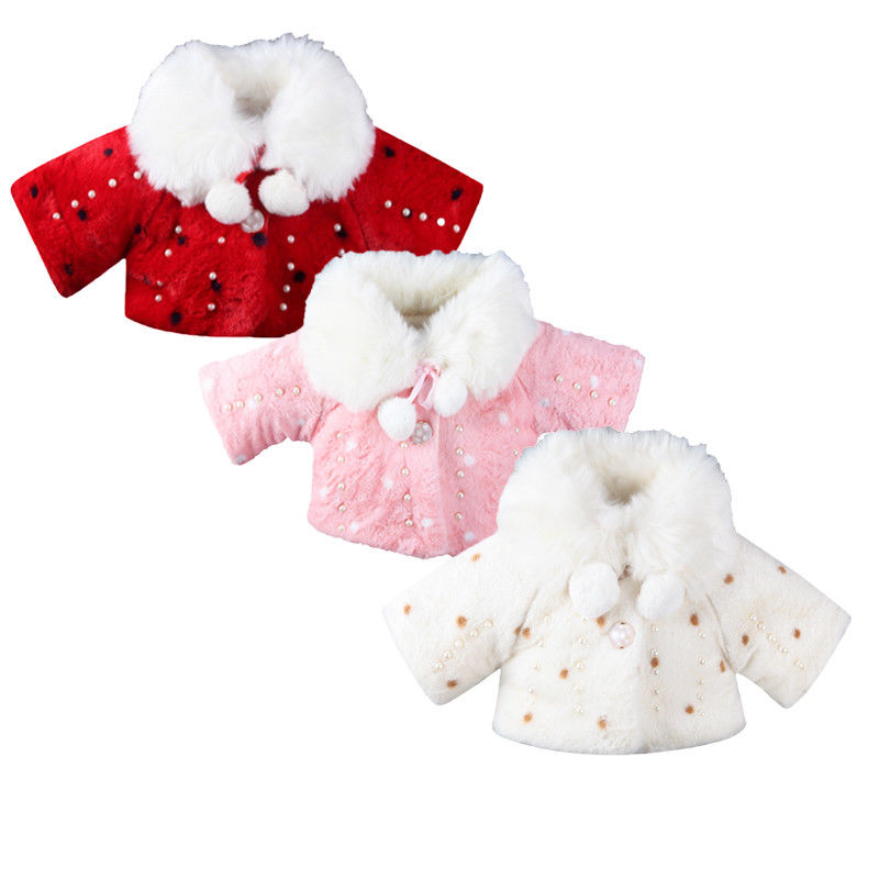 Newboan Baby Kids Girl Faux Fur Warm Coat Toddler Girls Bling Plush Winter Outwear Warming Kid Cute Thicken Coats Clothing