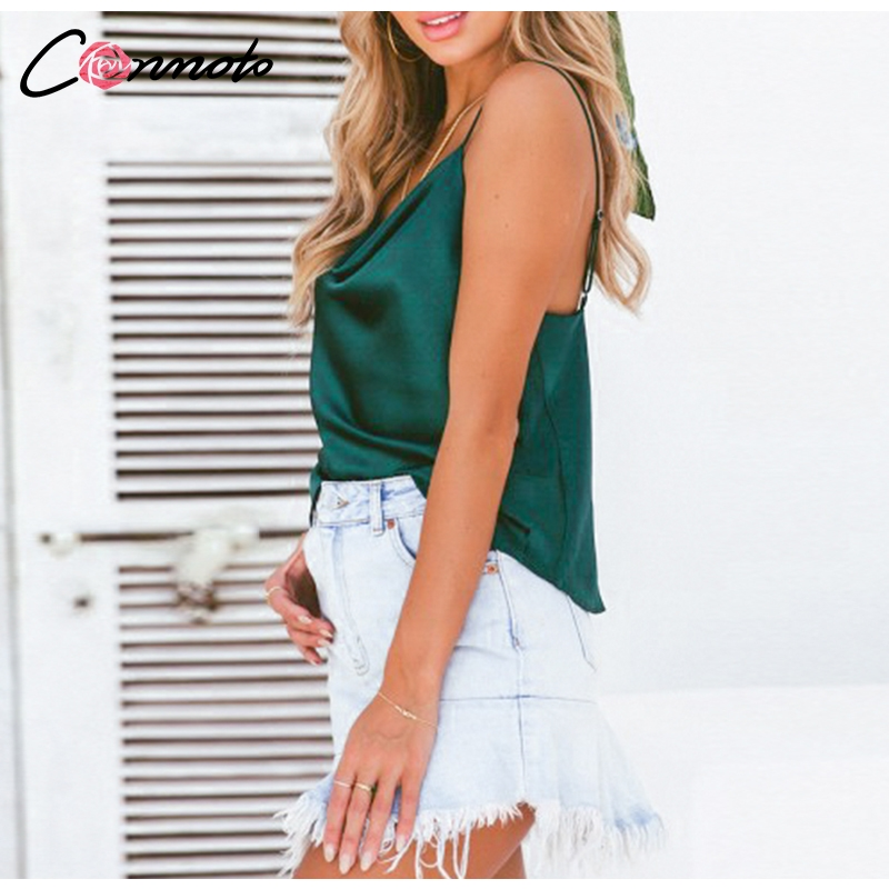 Conmoto Club Satin Women Solid Camis Top Spaghetti Strap Summer Camis Shirts Backless  Solid Sexy Casual Basic Tops Plus Size