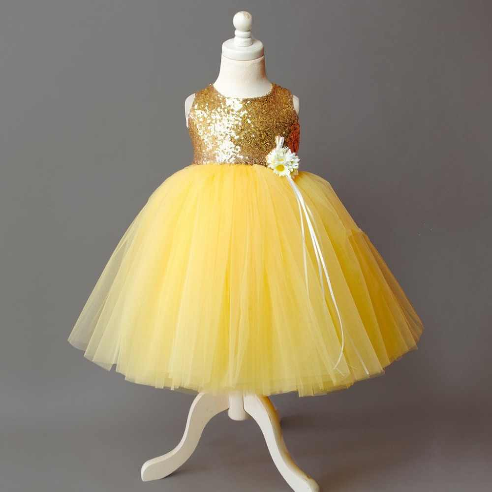 f5d08949192 ... Puffy bling gold sequins Yellow baby tutu first birthday party dress  flower girl criss-cross ...