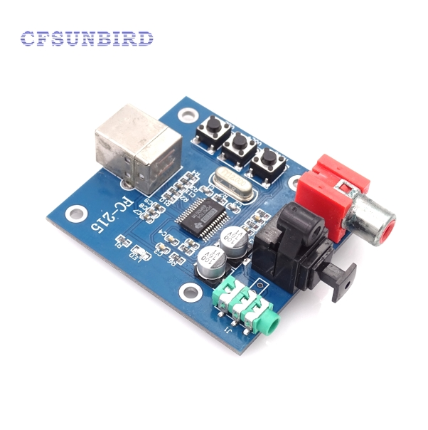 1pcs  PCM2704 USB DAC to S/PDIF Sound Card Decoder Board 3.5mm Analog Output F/PC dolby surround sound audio processor usb decoding dac pre amp usb sound card