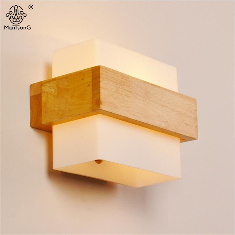 Modern Sconce Wall Lamps Living Room Bedroom Home Decorative Wood Wall Lights E27 AC 110V/220V Nordic Style Wall Lighting Lamps