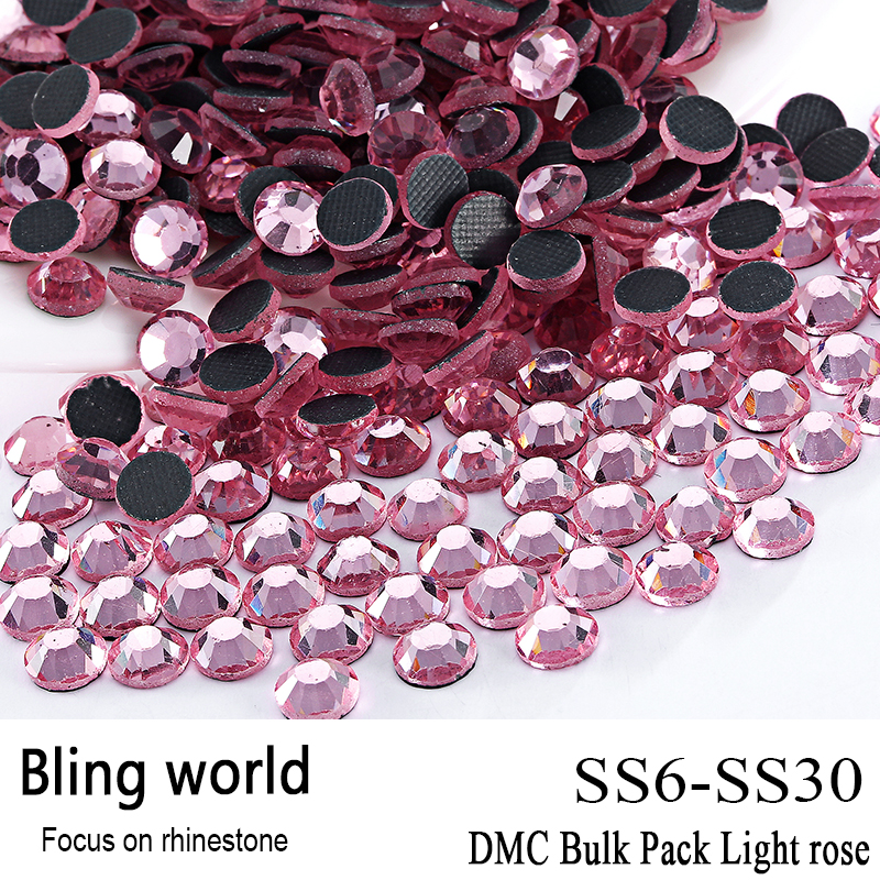 ФОТО The CraftsOutlet DMC Hotfix Superior Quality Glass Round Light rose Rhinestone Embellishment Size SS6 SS10 SS16 SS20 SS30